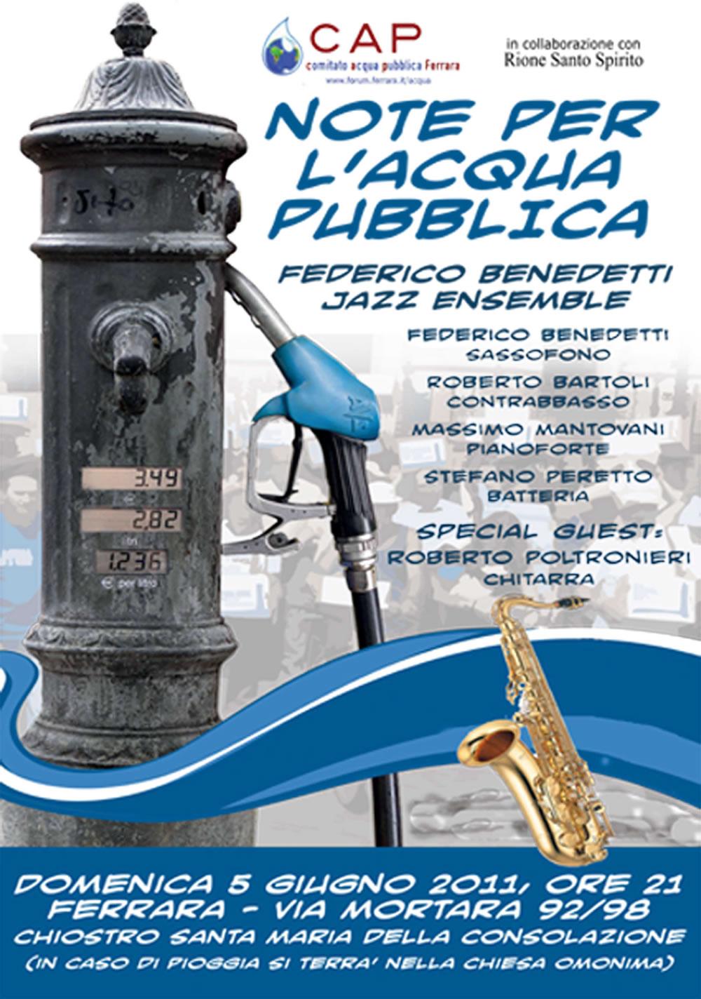 """<div class=""""at-above-post-arch-page addthis_tool"""" data-url=""""http://www.verdi.ferrara.it/sito/2011/06/02/5-giugno-note-per-lacqua-pubblica/""""></div>Il Comitato Acqua Pubblica di Ferrara, in collaborazione con il Rione Santo Spirito vi invitano NOTE PER L'ACQUA PUBBLICA con la Federico Benedetti Ensemble domenica 5 giugno, dalle ore 21 […]<!-- AddThis Advanced Settings above via filter on get_the_excerpt --><!-- AddThis Advanced Settings below via filter on get_the_excerpt --><!-- AddThis Advanced Settings generic via filter on get_the_excerpt --><!-- AddThis Share Buttons above via filter on get_the_excerpt --><!-- AddThis Share Buttons below via filter on get_the_excerpt --><div class=""""at-below-post-arch-page addthis_tool"""" data-url=""""http://www.verdi.ferrara.it/sito/2011/06/02/5-giugno-note-per-lacqua-pubblica/""""></div><!-- AddThis Share Buttons generic via filter on get_the_excerpt -->"""