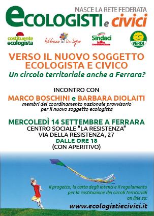 """<div class=""""at-above-post-cat-page addthis_tool"""" data-url=""""http://www.verdi.ferrara.it/sito/2011/08/27/mercoledi-14-settembre-marco-boschini-a-ferrara/""""></div>VERSO IL NUOVO SOGGETTO ECOLOGISTA E CIVICO UN CIRCOLO TERRITORIALE ANCHE A FERRARA? INCONTRO CON MARCO BOSCHINI e BARBARA DIOLAITI (MEMBRI DEL COORDINAMENTO NAZIONALE PROVVISORIO PER IL NUOVO SOGGETTO ECOLOGISTA) […]<!-- AddThis Advanced Settings above via filter on get_the_excerpt --><!-- AddThis Advanced Settings below via filter on get_the_excerpt --><!-- AddThis Advanced Settings generic via filter on get_the_excerpt --><!-- AddThis Share Buttons above via filter on get_the_excerpt --><!-- AddThis Share Buttons below via filter on get_the_excerpt --><div class=""""at-below-post-cat-page addthis_tool"""" data-url=""""http://www.verdi.ferrara.it/sito/2011/08/27/mercoledi-14-settembre-marco-boschini-a-ferrara/""""></div><!-- AddThis Share Buttons generic via filter on get_the_excerpt -->"""