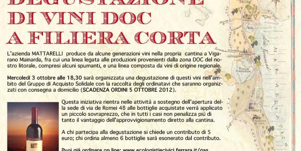 <!-- AddThis Sharing Buttons above -->DEGUSTAZIONE DI VINI DOC A FILIERA CORTA Acquista vino e contribuisci a tener aperta la sede di via Romei L'azienda MATTARELLI produce da alcune generazioni vini nella propria cantina a […]<!-- AddThis Sharing Buttons below -->