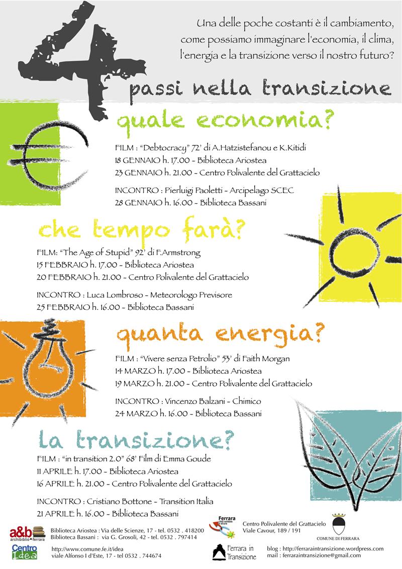 """<div class=""""at-above-post-homepage addthis_tool"""" data-url=""""http://www.verdi.ferrara.it/sito/2012/01/14/4-passi-nella-transizione/""""></div>Dalla collaborazione delle Biblioteche Ferraresi, il Centro Idea, il Centro Mediazione Ferrara Città Solidale e Sicura e Ferrara in Transizione è nato questo ciclo di incontri e film su Economia, […]<!-- AddThis Advanced Settings above via filter on get_the_excerpt --><!-- AddThis Advanced Settings below via filter on get_the_excerpt --><!-- AddThis Advanced Settings generic via filter on get_the_excerpt --><!-- AddThis Share Buttons above via filter on get_the_excerpt --><!-- AddThis Share Buttons below via filter on get_the_excerpt --><div class=""""at-below-post-homepage addthis_tool"""" data-url=""""http://www.verdi.ferrara.it/sito/2012/01/14/4-passi-nella-transizione/""""></div><!-- AddThis Share Buttons generic via filter on get_the_excerpt -->"""