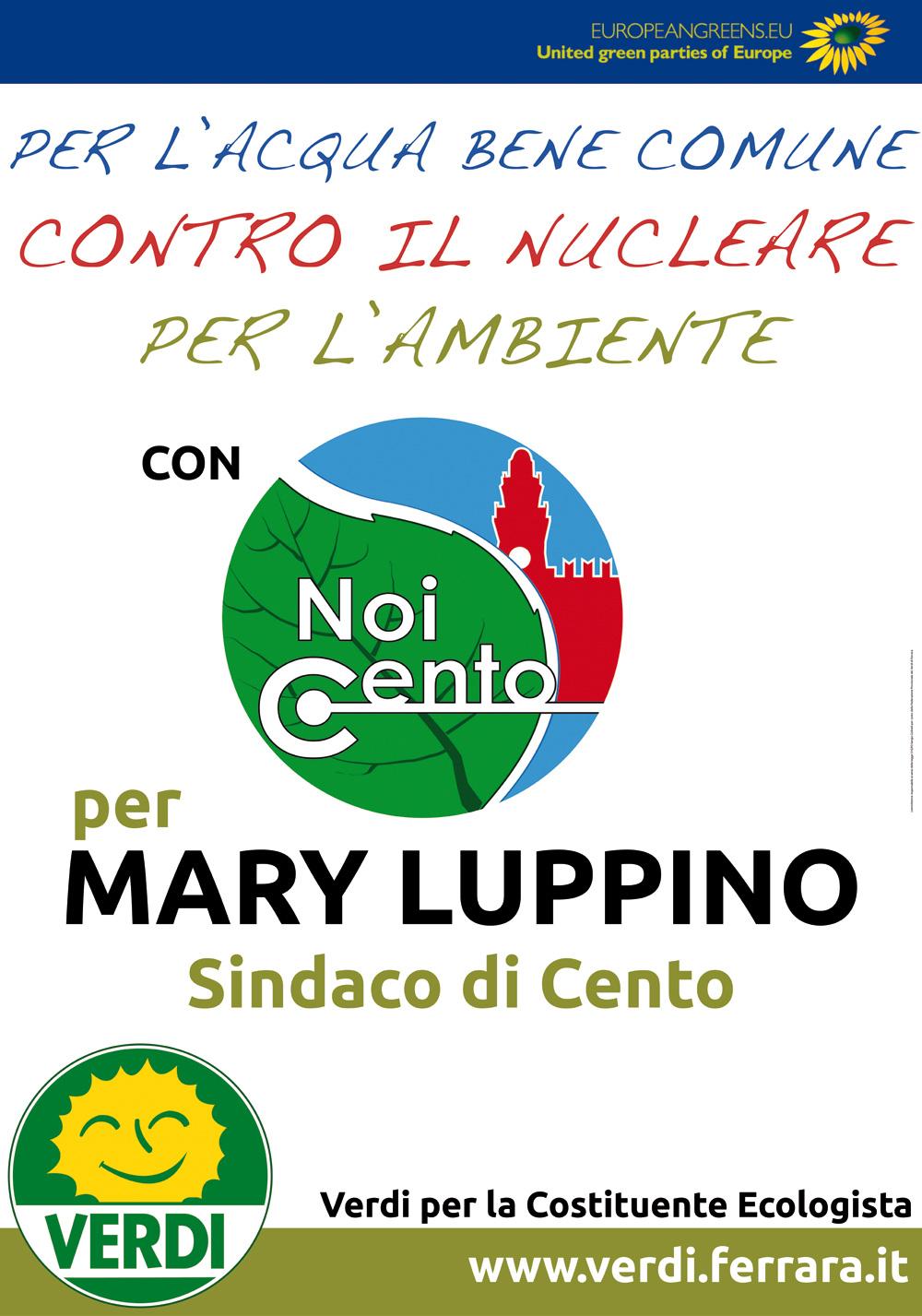 """<div class=""""at-above-post-cat-page addthis_tool"""" data-url=""""http://www.verdi.ferrara.it/sito/2011/05/01/a-cento-per-mary-luppino/""""></div>I Verdi per la Costituente ecologista di Ferrara sostengono la candidatura a Sindaco di Cento di Mary Luppino anche con la candidatura nelle lista NOI CENTO di Barbara Diolaiti, insegnante, […]<!-- AddThis Advanced Settings above via filter on get_the_excerpt --><!-- AddThis Advanced Settings below via filter on get_the_excerpt --><!-- AddThis Advanced Settings generic via filter on get_the_excerpt --><!-- AddThis Share Buttons above via filter on get_the_excerpt --><!-- AddThis Share Buttons below via filter on get_the_excerpt --><div class=""""at-below-post-cat-page addthis_tool"""" data-url=""""http://www.verdi.ferrara.it/sito/2011/05/01/a-cento-per-mary-luppino/""""></div><!-- AddThis Share Buttons generic via filter on get_the_excerpt -->"""