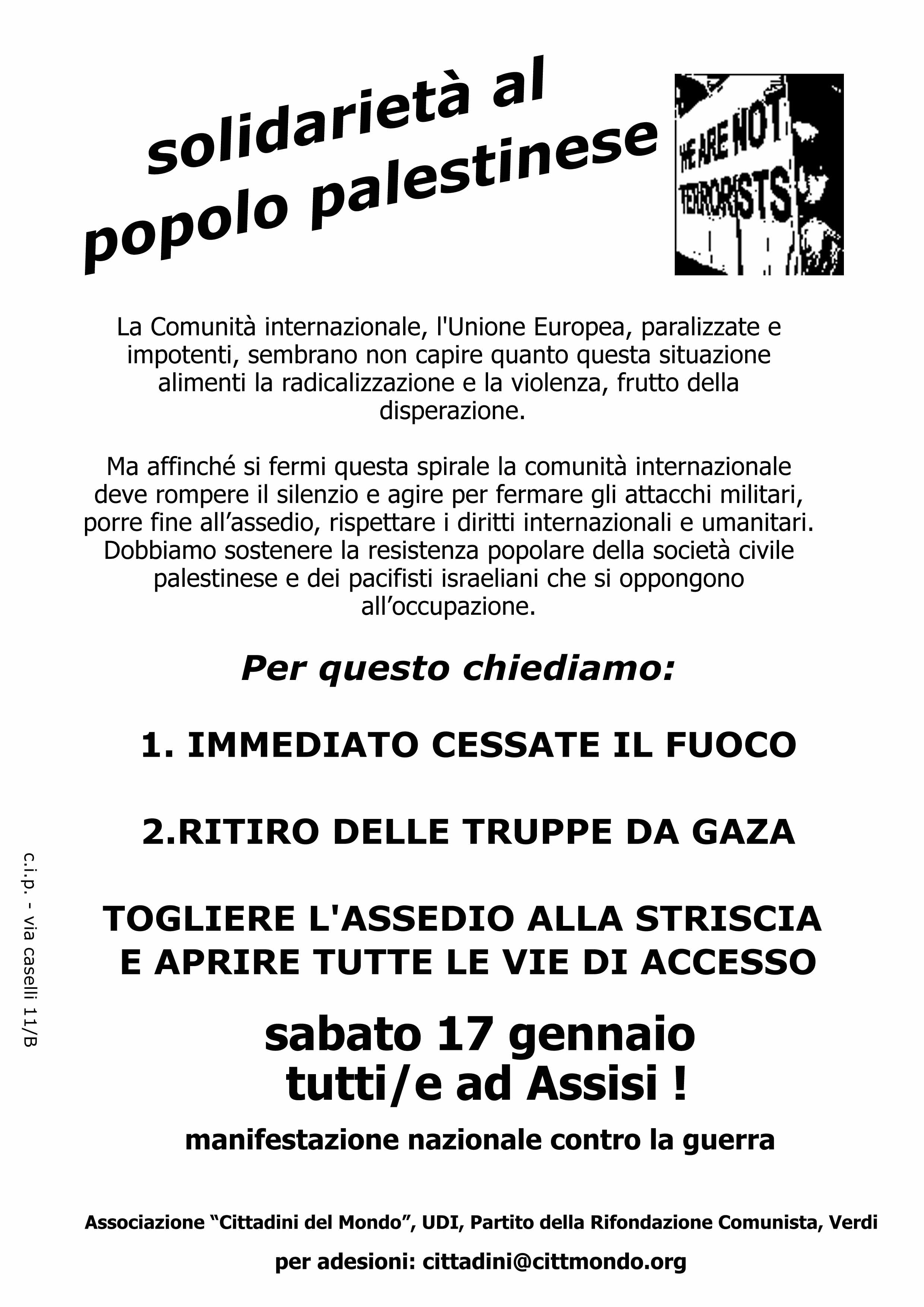 """<div class=""""at-above-post-cat-page addthis_tool"""" data-url=""""http://www.verdi.ferrara.it/sito/2009/01/09/palestina-domani-in-piazza-a-ferrara-sabato-17-tutti-ad-assisi-alla-manifestazione-nazionale/""""></div>I Verdi di Ferrara aderiscono alle iniziative locali in solidarietà con il popolo palestinese con la richiesta di un immediate cessate il fuoco e la riapertura del dialogo. Per questo […]<!-- AddThis Advanced Settings above via filter on get_the_excerpt --><!-- AddThis Advanced Settings below via filter on get_the_excerpt --><!-- AddThis Advanced Settings generic via filter on get_the_excerpt --><!-- AddThis Share Buttons above via filter on get_the_excerpt --><!-- AddThis Share Buttons below via filter on get_the_excerpt --><div class=""""at-below-post-cat-page addthis_tool"""" data-url=""""http://www.verdi.ferrara.it/sito/2009/01/09/palestina-domani-in-piazza-a-ferrara-sabato-17-tutti-ad-assisi-alla-manifestazione-nazionale/""""></div><!-- AddThis Share Buttons generic via filter on get_the_excerpt -->"""