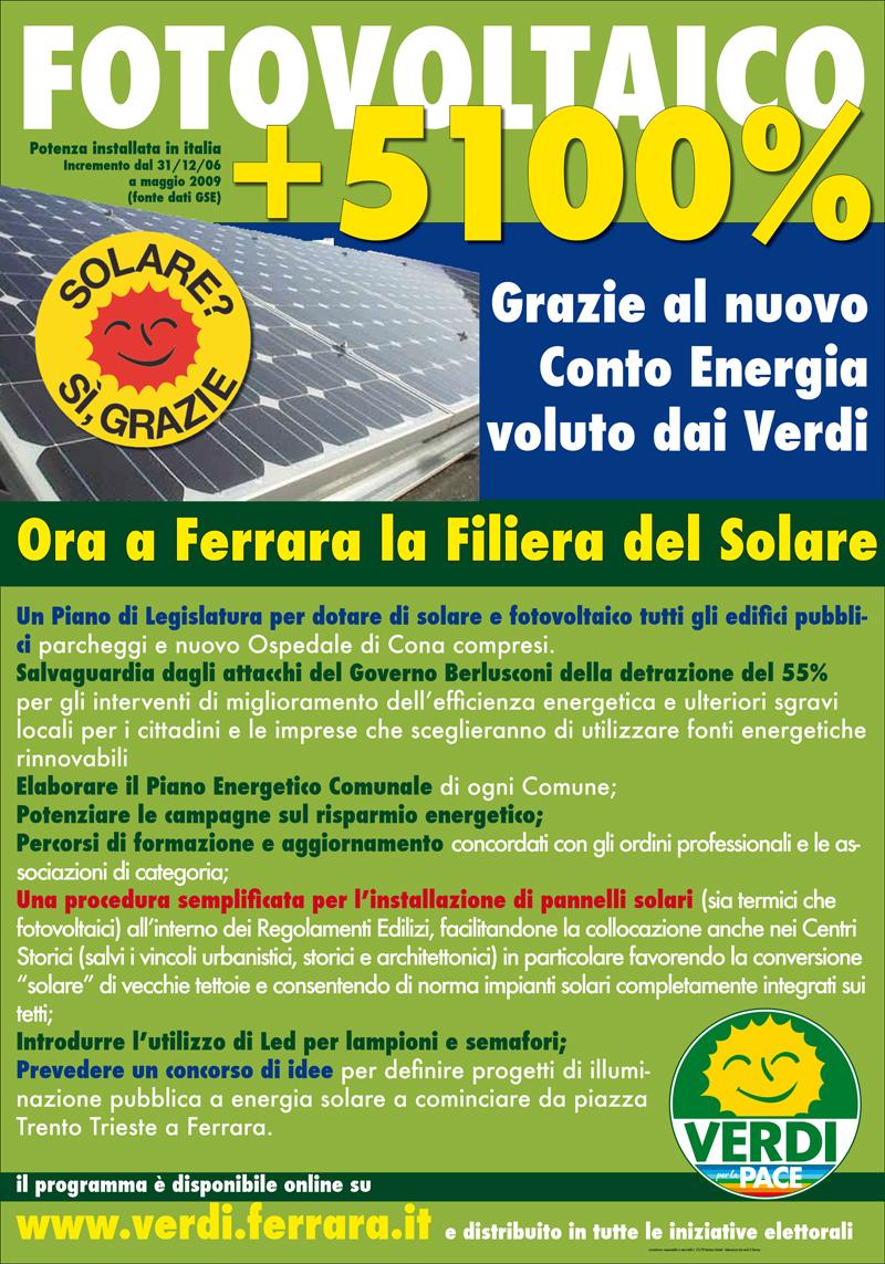 """<div class=""""at-above-post-arch-page addthis_tool"""" data-url=""""http://www.verdi.ferrara.it/sito/2009/05/27/i-verdi-per-la-filiera-del-solare/""""></div>Grazie al nuovo Conto Energia – voluto fortemente dai Verdi durante il precedente Governo – il fotovoltaico in Italia ha avuto un fortissimo incremento (lo scorso anno l'Italia è stata […]<!-- AddThis Advanced Settings above via filter on get_the_excerpt --><!-- AddThis Advanced Settings below via filter on get_the_excerpt --><!-- AddThis Advanced Settings generic via filter on get_the_excerpt --><!-- AddThis Share Buttons above via filter on get_the_excerpt --><!-- AddThis Share Buttons below via filter on get_the_excerpt --><div class=""""at-below-post-arch-page addthis_tool"""" data-url=""""http://www.verdi.ferrara.it/sito/2009/05/27/i-verdi-per-la-filiera-del-solare/""""></div><!-- AddThis Share Buttons generic via filter on get_the_excerpt -->"""