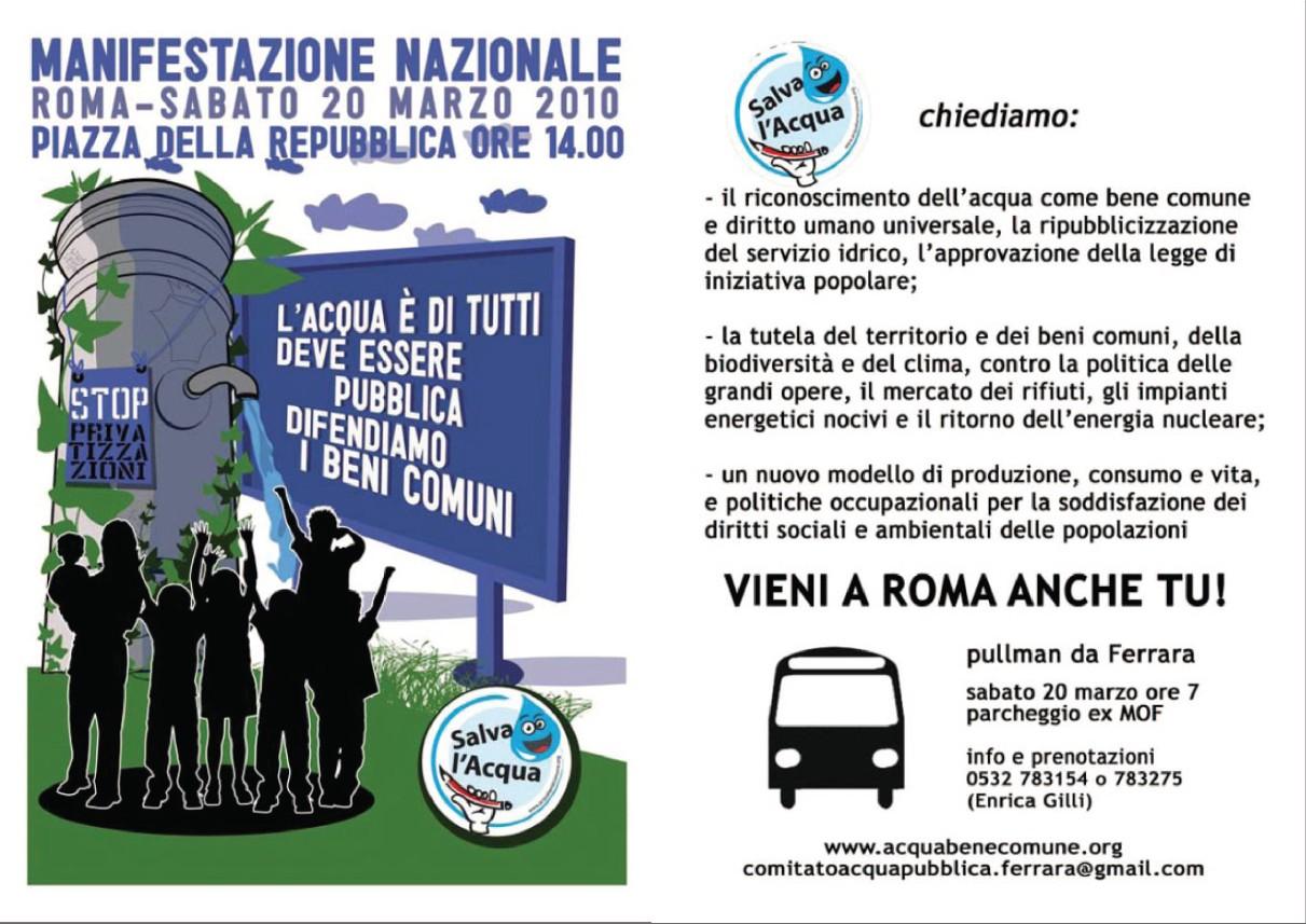 """<div class=""""at-above-post-arch-page addthis_tool"""" data-url=""""http://www.verdi.ferrara.it/sito/2010/03/15/il-20-marzo-a-roma-a-difesa-dellacqua-di-tutti/""""></div>Sabato 20 marzo il Comitato Acqua Pubblica di Ferrara sarà a Roma alla manifestazione nazionale a difesa dell'Acqua di tutti. Si organizza un pullman con partenza dall'ex Mof alle 7 […]<!-- AddThis Advanced Settings above via filter on get_the_excerpt --><!-- AddThis Advanced Settings below via filter on get_the_excerpt --><!-- AddThis Advanced Settings generic via filter on get_the_excerpt --><!-- AddThis Share Buttons above via filter on get_the_excerpt --><!-- AddThis Share Buttons below via filter on get_the_excerpt --><div class=""""at-below-post-arch-page addthis_tool"""" data-url=""""http://www.verdi.ferrara.it/sito/2010/03/15/il-20-marzo-a-roma-a-difesa-dellacqua-di-tutti/""""></div><!-- AddThis Share Buttons generic via filter on get_the_excerpt -->"""